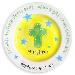 Boy's Baptism or Christening Cross and Stars Plate