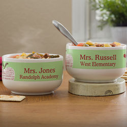 Apple Scroll Personalized Teacher's Soup Bowl