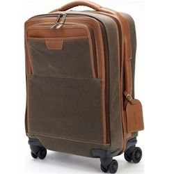 Canvas and Leather Spinner Wheeled Expandable Carry On