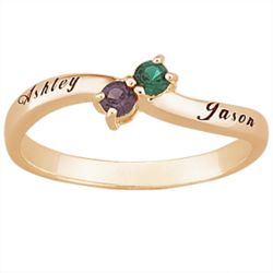 Couple's Personalized 18K Gold-Plated Birthstone and Name Ring