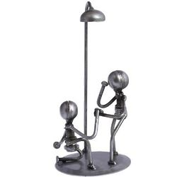 Pair Under a Streetlight Upcycled Metal Auto Part Sculpture