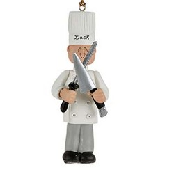 Male Chef Personalized Christmas Ornament