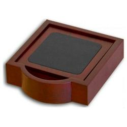 Rosewood and Leather Square Coaster Set