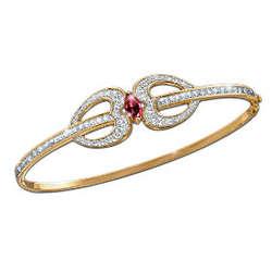 Sterling Silver Garnet and Swarovski Crystal Bangle Bracelet