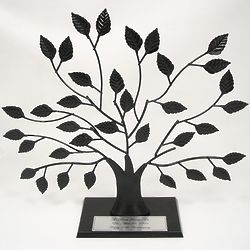 Wrought Iron Family Tree Stand with Engraved Silver Surname Plate