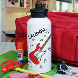 Personalized Electric Guitar Aluminum Water Bottle