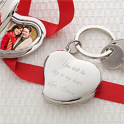Personalized Key to My Heart Photo Locket Keychain