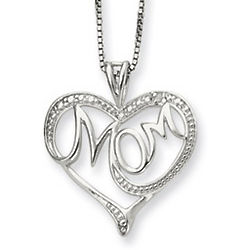 Sterling Silver and Diamond Mom Heart Pendant