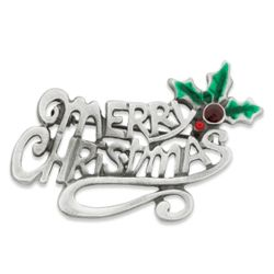 Antiqued Merry Christmas Brooch
