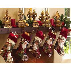 Safari Santa Christmas Stocking with Leopard Print Trim