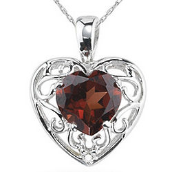 14K White Gold Garnet Heart and Diamond Pendant
