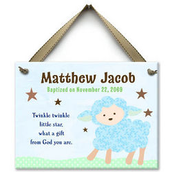 Boy's Personalized Twinkle Little Lamb Ceramic Wall Tile