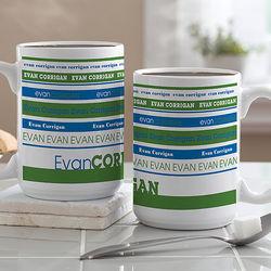 Large Personalized Signature Stripe Coffee Mug
