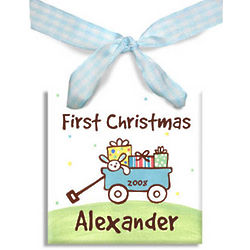My First Christmas Personalized Wagon Ornament