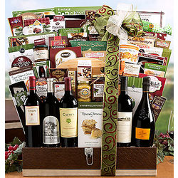 Fine Red Wine and Champagne Gift Basket