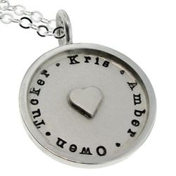Mother's Personalized Silver Heart Necklace