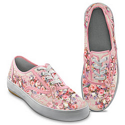 Women's Floral Art Breast Cancer Support Canvas Sneakers