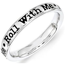 Black Enamel Roll With Me Stack Ring in Sterling Silver