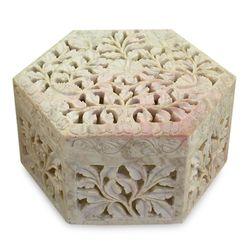 White Jasmine Soapstone Jewelry Box