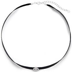 Thin Black Ribbon Cubic Zirconia Evil Eye Choker