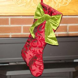 Elegant Bow Personalized Christmas Stocking