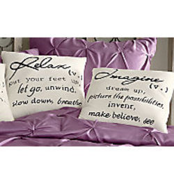 Imagine or Relax Word Pillow