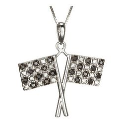 White and Black Diamond Checkered Race Flag Pendant