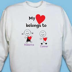 Personalized My Heart Belongs To Sweatshirt