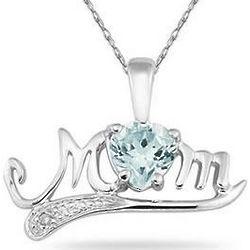 10K White Gold Aquamarine and Diamond Mom Necklace