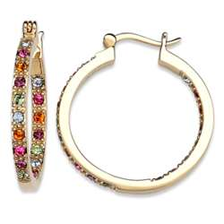 Gold Plated Multi-Color Crystal Inside Outside Hoop Earrings