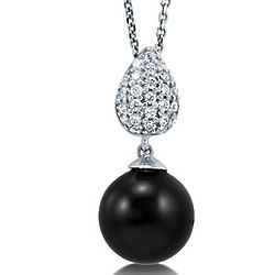 Round Black Faux Pearl Cubic Zirconia Sterling Silver Necklace
