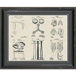 Baseball Equipment Framed Patent Art