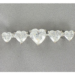 Cubic Zirconia Five Heart Pin