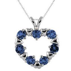 10K White Gold Sapphire Heart Pendant