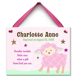Girl's Personalized Twinkle Little Lamb Ceramic Wall Tile