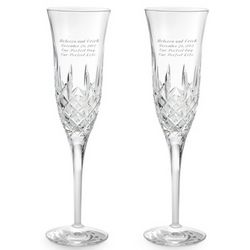 Pineapple Cut Crystal Engraved Wedding Toasting Flutes