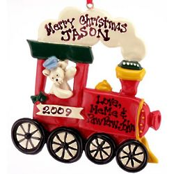 Engravable Teddy Bear and Train Christmas Ornament