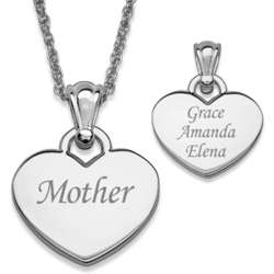 Engraved Silvertone Mother Heart Necklace