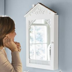 Cottage-Shaped Wall Jewelry Organizer and Mirror