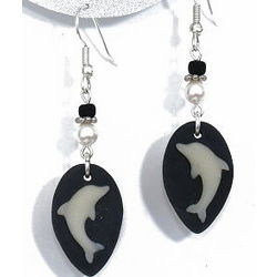 Carved Dolphin Drop Earrings