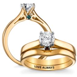 Gold Over Sterling Hidden Birthstone Wedding Ring