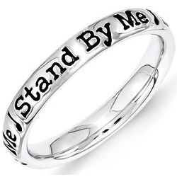 Black Enamel Stand by Me Stack Ring in Sterling Silver