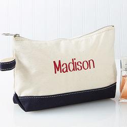 Embroidered Name Canvas Makeup Bag