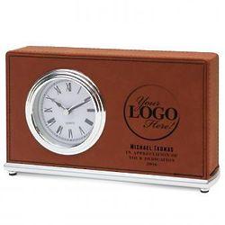 Custom Logo Faux Leather Desk Clock
