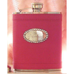 Personalized Hot Pink Flask with Crystals