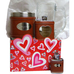 Valentine's Day Personalized Brown Flask Gift Set