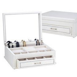 Pure White Wood Jewelry Box Chest