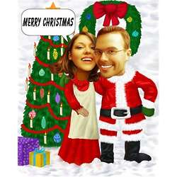 Happy Christmas Couple Caricature Print