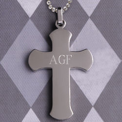 Personalized Rounded Edge Cross Pendant