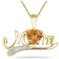 10K Yellow Gold Citrine and Diamond Mom Necklace